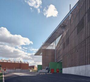 Façade extérieure chaufferie biomasse de Genevilliers