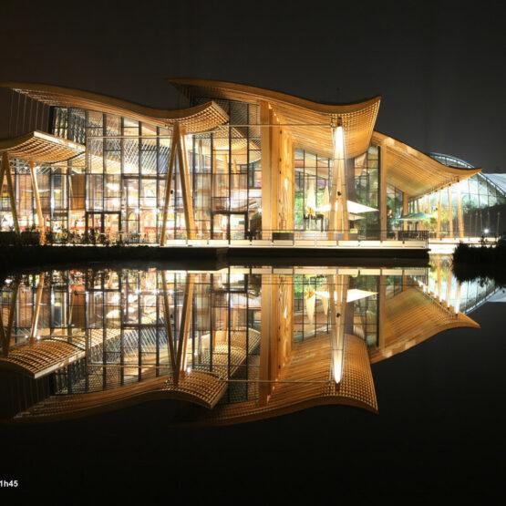 façade Extérieure Center Parcs Hattigny de nuit